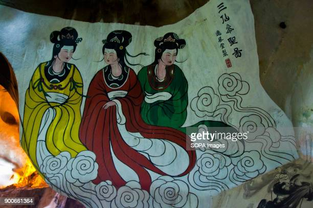 TEMPLE IPOH PERAK MALAYSIA One of the beautiful mural is seen at the limestone cave Perak Tong cave temple was discovered in 1926 by Chong Sen Yee...
