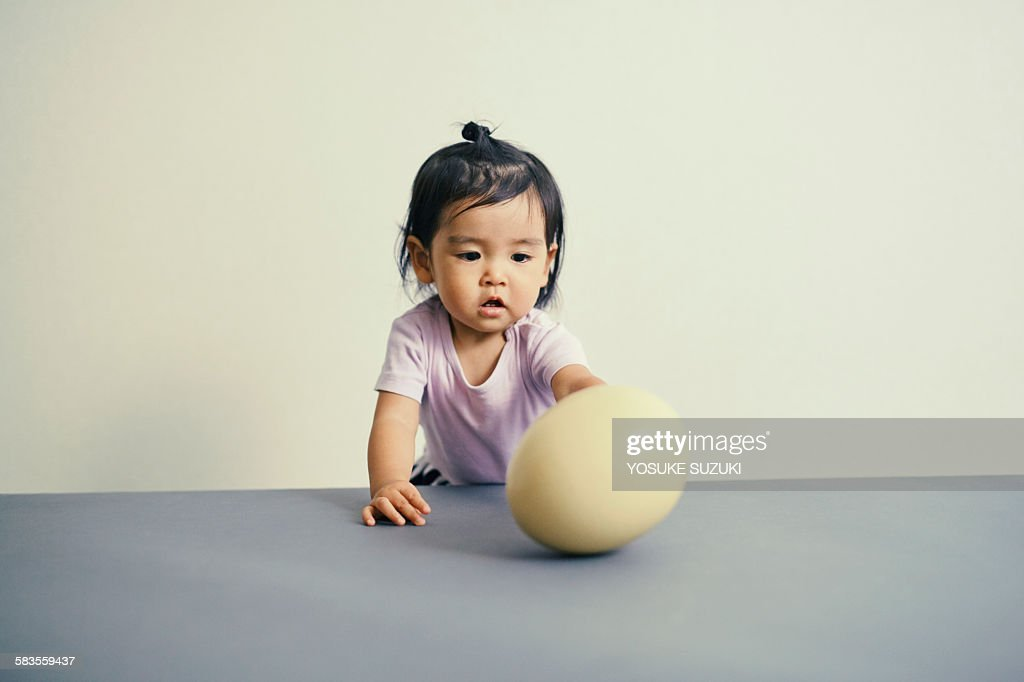 One of the big egg and children : Stock Photo