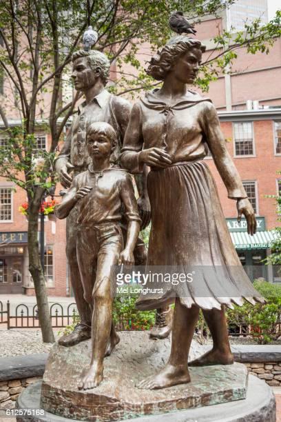 one of the boston irish potato famine memorial sculptures, washington street, boston, massachusetts, usa - irish potato famine stock pictures, royalty-free photos & images
