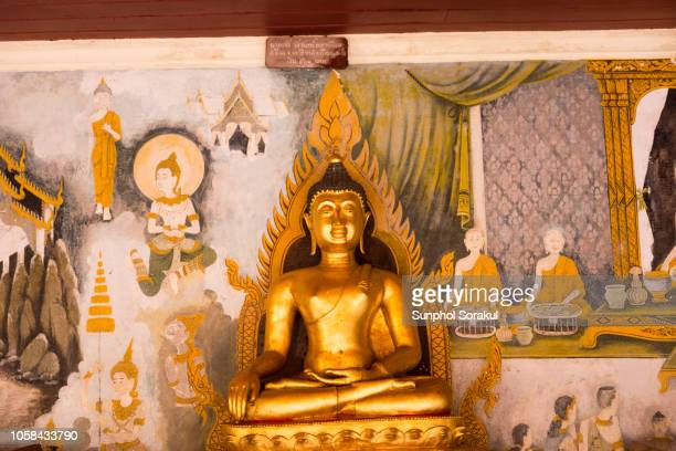 one of the buddha figures lining up the cloister walls around wat phrathat doi suthep - theravada stock pictures, royalty-free photos & images