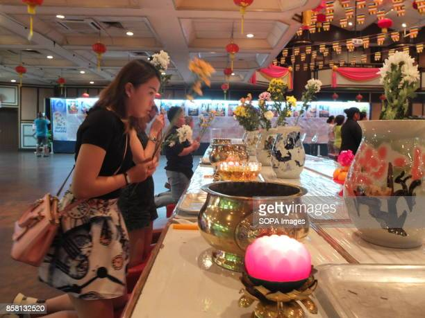 One of the Buddhist devotees is seen praying with her friends on the Wesak day Wesak is the most important day for Buddhist devotees as they...