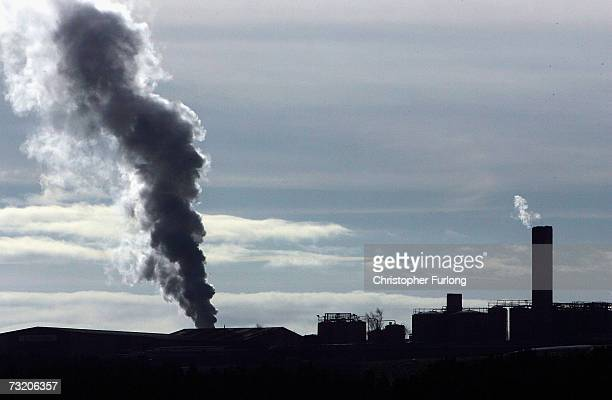 One of the chimneys at John Pointon and Sons incinerator in Staffordshire emits steam as the incineration of H5N1 infected turkeys from Suffolk...