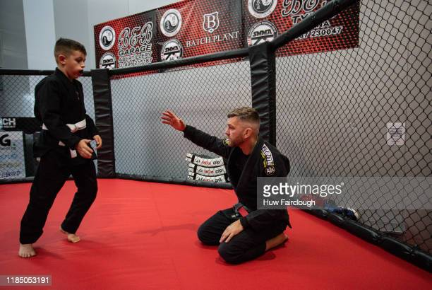 one of the coaches runs through some drills at the opening of Shore Mixed Martial Arts on November 2 2019 in Abertillery Wales