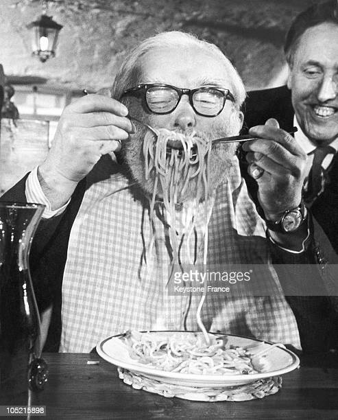 One Of The Competitor Eating His First Plate Of Spaghetti At Alpino Restaurant In Leicester Square Of London On December 5 1967
