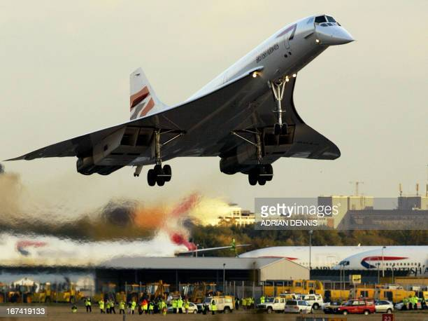 One of the Concordes comes in to land at London Heathrow airport Three Concordes landed and are being retired from commercial use after 27 years of...