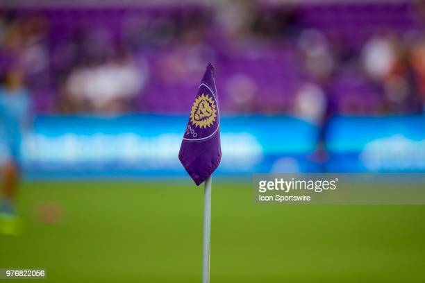 One of the corner flags during the soccer match between The Orlando Pride and Sky Blue FC on June 16 2018 at Orlando City Stadium in Orlando FL