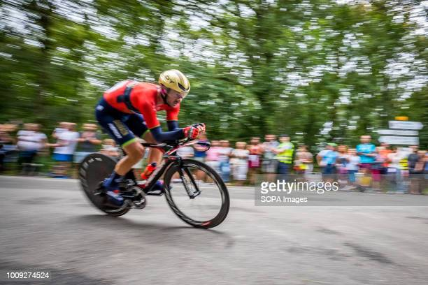 One of the cyclist seen in action during the competitions Stage 20 of the Tour de France cycling Individuals ride for 31km between SaintPéesurNivelle...