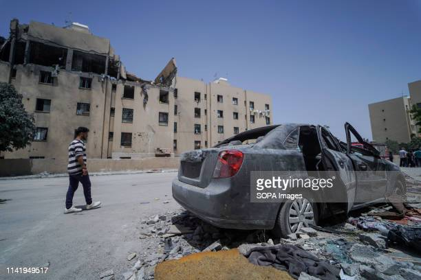 One of the damaged cars seen during the funeral of Maria alGazali a fourmonthold Palestinian baby who was martyred in an Israeli raid that hit her...