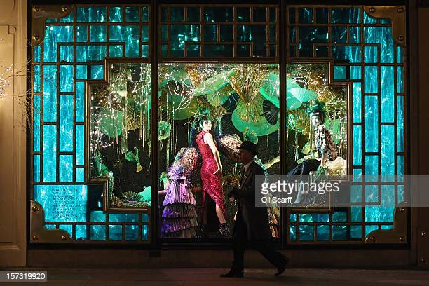 One of the decorated Christmas window displays in Harvey Nichols department store in Knightsbridge on November 29 2012 in London England Many...