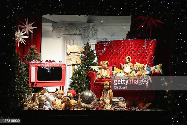 One of the decorated Christmas window displays in Selfridges department store on Oxford Street on November 26 2012 in London England Many prominent...
