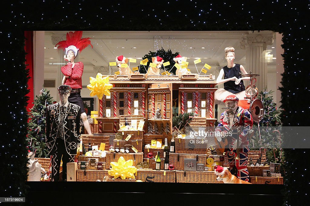 Christmas Window Displays.One Of The Decorated Christmas Window Displays In Selfridges