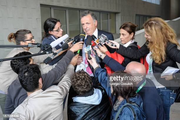 One of the defense lawyers of Raffaele Sollecito Luca Maori talks to the media at the new Courthouse at the end of the appeal trial of Amanda Knox...