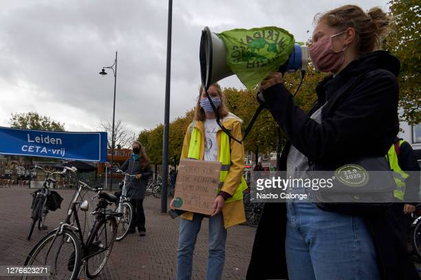 One of the demonstrators talks about the main reasons for the demonstration during the global day of climate action on September 25 2020 in Leiden...