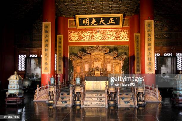 One of the different trones of the emperor of China in the pavilion of the Celestial Purity on the site of the Forbidden City on February 17 2018 in...