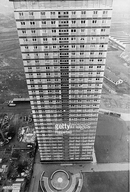 One of the eight blocks in the Red Road Flats housing complex under construction in Balornock Glasgow Scotland 12th November 1967 Built between 1964...