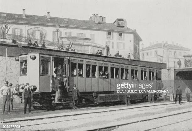 One of the electric carriages on the MilanMonza line Lombardy Italy photograph by Treves from L'Illustrazione Italiana Year XXVI No 7 February 12 1899