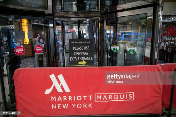 One of the entrance of the International Hotel Marriott Marquis remains closed during the outbreak of the COVID19 pandemic on May 21 2020 in New York...