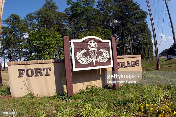 One of the entrance signs to facillities in Fort Bragg May 13 2004 in Fayettville North Carolina The 82d Airborne Division was assigned here in 1946...