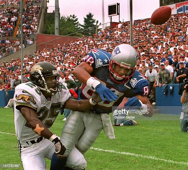 One of the few balls Terry Glenn did not catch today he is broken up at the goal line by Jaguars CB Mickey Washington