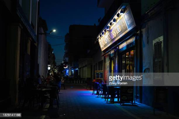 One of the few businesses that open despite the economic difficulties in the English leisure area on July 16, 2021 in Sant Antoni de Portmany, Ibiza,...