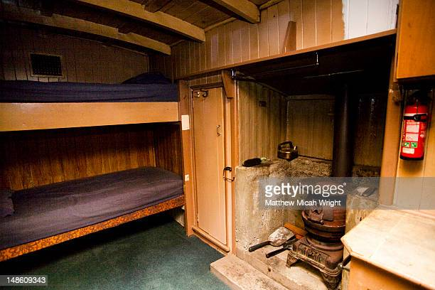 One of the few choices of accomodation in the Milford Sound Park, Gunns Camp in the Hollyford Valley offers old rustic accomodation in this historic site. The rustic inside of one of the cabins.