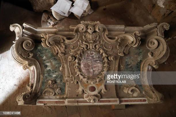 One of the fifty newly found pieces of the Altare del Gagini in the complex of Spasimo The altar will be restored and recomposed in the Anzalone...