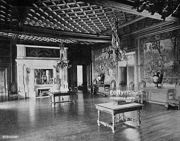 One of the first autotype prints, chateau de pau castle, historic photograph france, europe