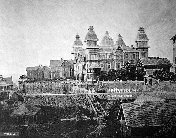 One of the first autotype prints, the prime minister's palace, historic photograph tananarive, antananarivo, madagascar