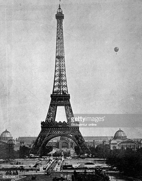 One of the first halftones the eiffel tower paris france 1880