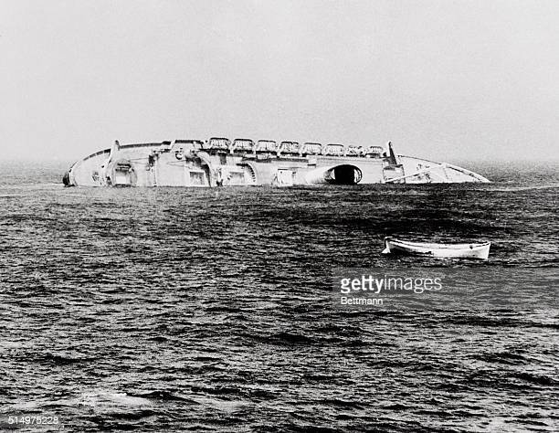 One of the first pictures made from surface shows the Andrea Doria going down July 26th 45 miles south of Nantucket Island The photo was made from...