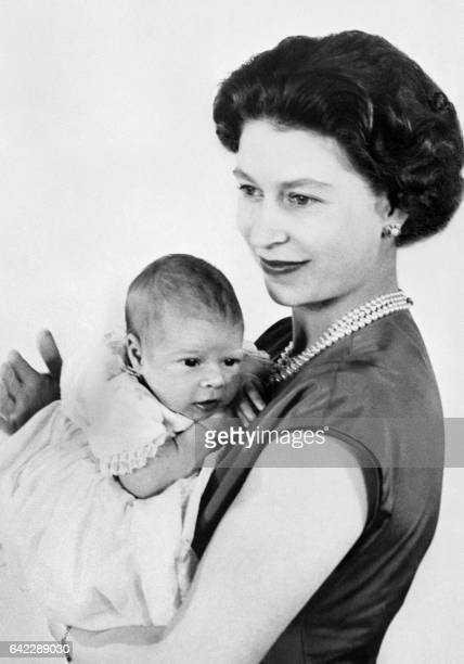 One of the first pictures of the new born Prince Andrew shows the baby in the Queen Elizabeth II's arms 22 March 1960 in Buckingham Palace The name...