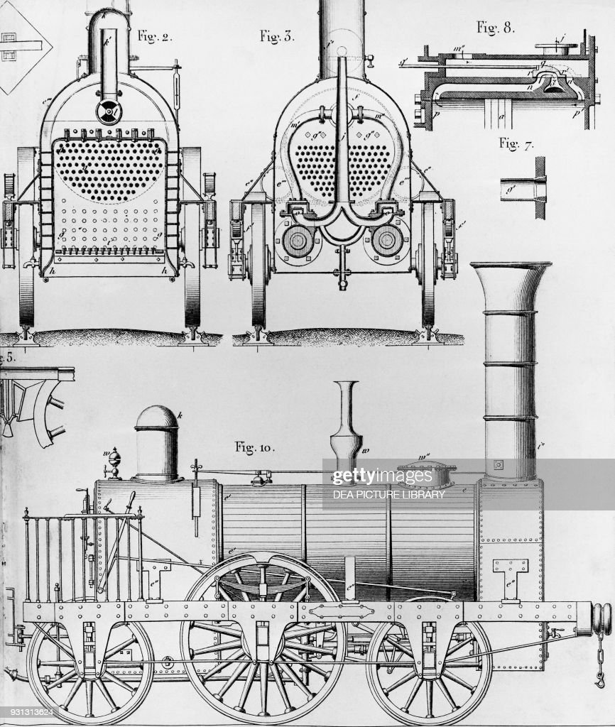 One of the first steam locomotives, technical drawing from