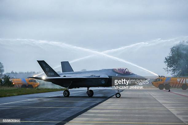 One of the first two American F35A Lightning II fighter jets lands in Leeuwarden The Netherlands on May 23 2016 The F35 program is an international...