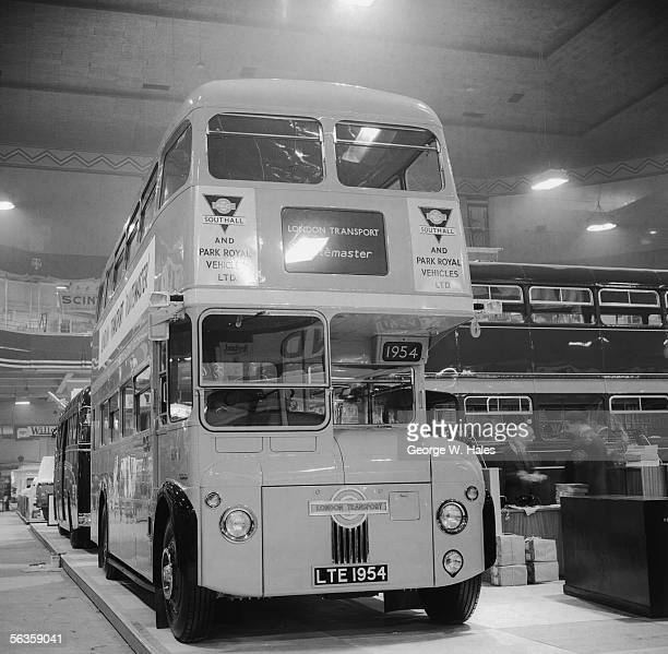 One of the first two Routemaster buses ever built on display at the Commercial Motor Show at Earl's Court London 23rd September 1954 The doubledecker...
