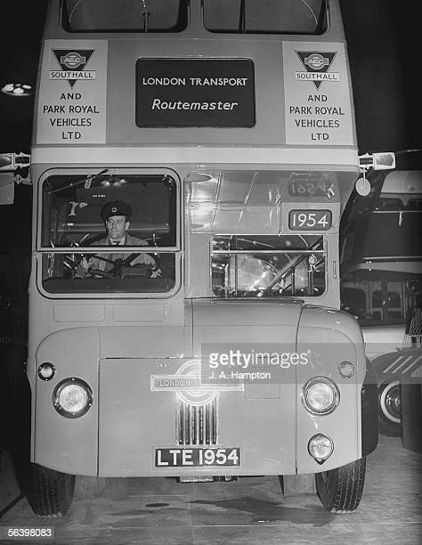One of the first two Routemaster buses ever built on display at the Commercial Motor Show at Earl's Court London 23rd September 1954 The...