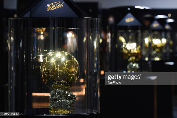 One of the five FIFA Ballon D'Or Trophy won by Ronaldo seen inside the CR7 Museum located in Funchal seafront on the island of Madeira where...