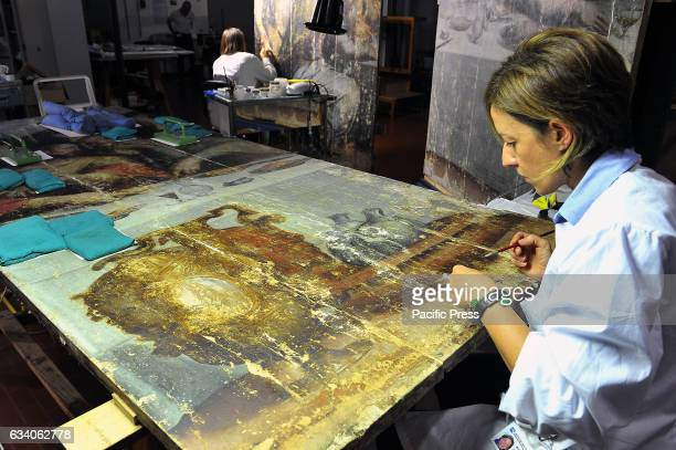 One of the five panels that make up 'The Last Supper' by Giorgio Vasari during restoration The Opificio delle Pietre Dure is a public institute of...