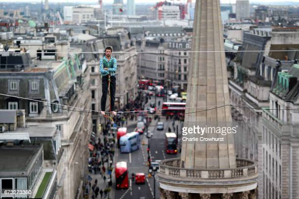 One of The Flying Frenchies stars of the new film The Free Man rehearse at BBC Broadcasting House on April 25 2017 in London England