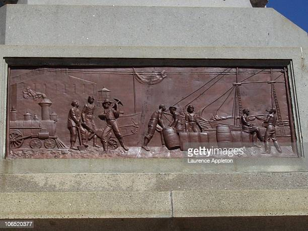 One of the four bronze bas relief panels above the main base of the tomb of Stephen A. Douglas in Chicago, Illinois. The four panels represent stages...