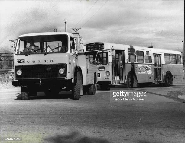 One of the four new Volvo F86 'tugs' takes a disabled PTC bus in tow Up hill starting is made easier by an Allison automatic gearbox June 13 1978