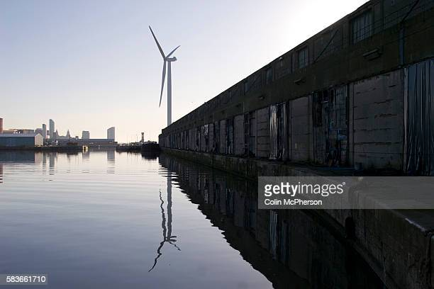 One of the four newlyconstructed 25 megawatt wind turbines at Alexandra Dock in Liverpool The 45meter 11ton blades were lifted onto the 80meter...