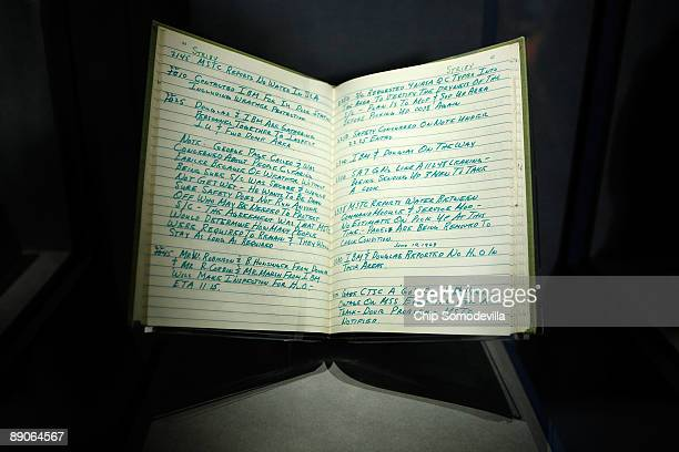 One of the four supervisor's log books from the testing exercises of Apollo 11 is on display in the Apollo Treasures Gallery at the Kennedy Space...