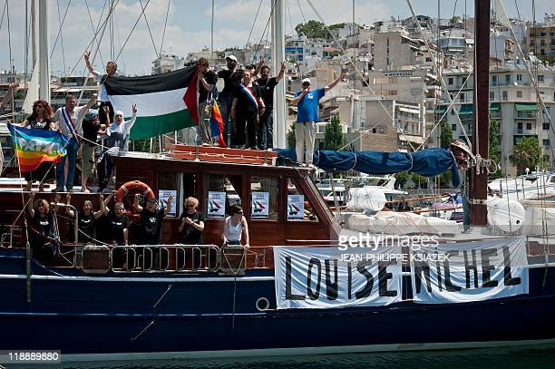 One of the French boats of a flotilla bound for Gaza with some 40 activists on board pretends on July 4 2011 to leave the port of Pireus near Athens...