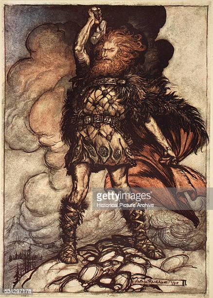 One of the Gods Donner summons the mist away Illustration by Arthur Rackham from The Rhinegold and The Valkyrie part of The Ring of the Nibelung by...