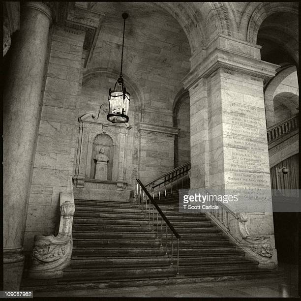 One of the grand stairs at the New York Public Library from below