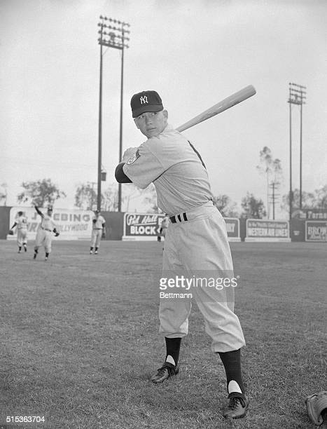 One of the hottest rookie prospects ever to hit a major league training camp is young switch hitting Mickey Mantle now burning up the exhibition game...