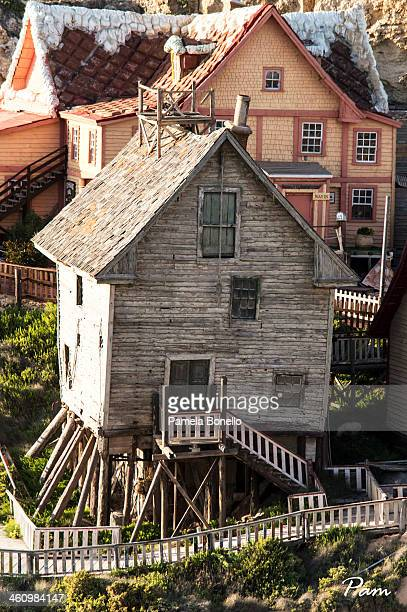One of the houses on display at Popeye's Village. Popeye Village, also known as Sweethaven Village, is a group of rustic and ramshackle wooden...