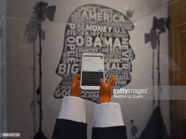 One of the items on display June 15 2017 in New York as 'The Daily Show Presents The Donald J Trump Presidential Twitter Library' the first of its...