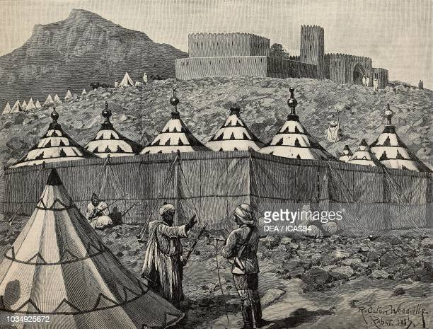 MOROCCO British Mission; One of the Ladies Camps Antique Print 1887