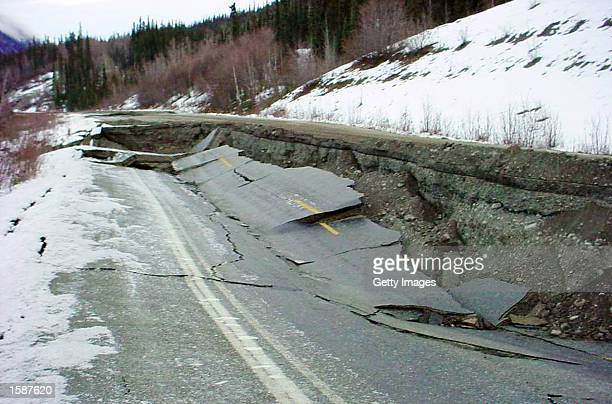One of the large cracks on the Tok Cutoff Highway caused by an 79 magnitude earthquake on November 3 that rocked a sparsely populated area of...